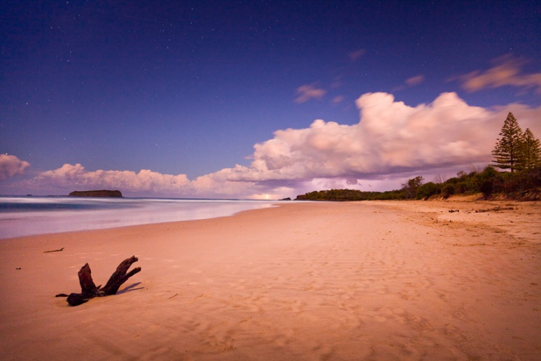 Storm over Dreamtime Beach behind Fingal Head