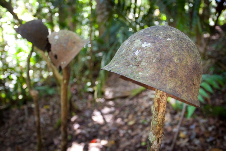 Japanese helmets among the remains found at their position held during the battle of Eora Creek, Kokoda Track, Papua New Guinea.