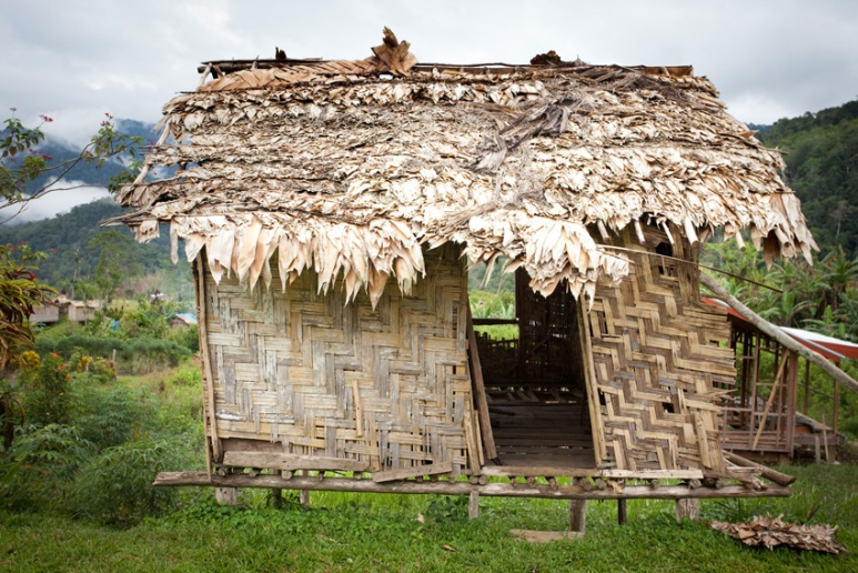 Traditional hut that has seen better days, Menari Village, Kokoda Track, Papua New Guinea.