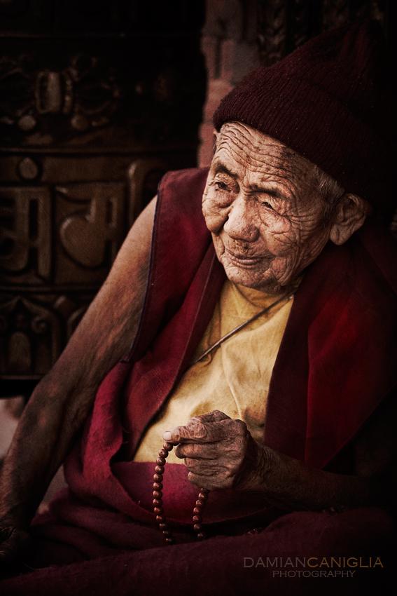 Old Buddhist Monk at Bodhnath Stupa, Kathmandu Nepal