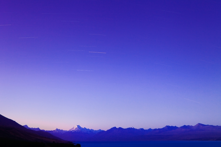 Rare clear skies and star trails over Mt Cook in the Southern Alps, New Zealand