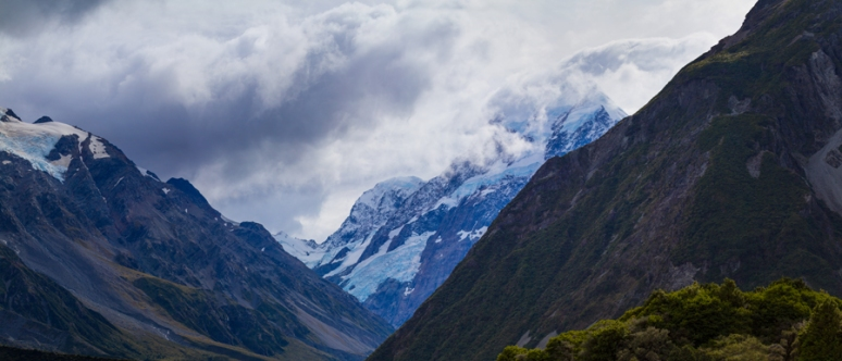 Mt Cook under heavy cloud and high winds.